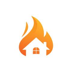 Home Fire Flame Logo design vector