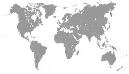Foto op Plexiglas Wereldkaart Grayscale World Map - illustration