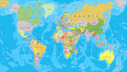 Colored World Map - borders, countries and cities - illustration   Highly detailed colored vector illustration of world map.