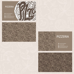 Hand drawn business card template for Pizzeria business . Vector