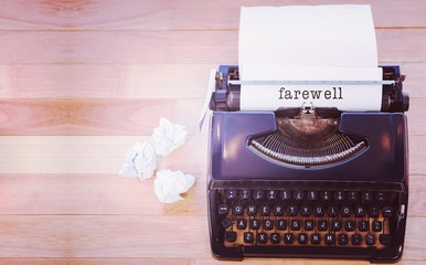 Composite image of farewell message on a white background