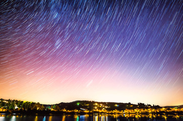 beautiful sky at night with startrails in Slovenia, Strunjan