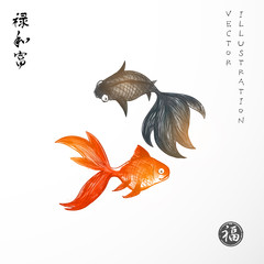 Two little goldfishes on white background