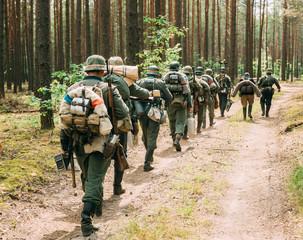 Group Of Unidentified Re-enactors Dressed As German Wehrmacht So