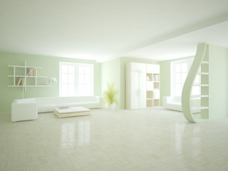 white interior design of living room -3D illustration