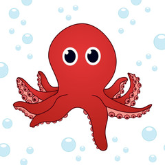 Cartoon octopus on a white background with shadow
