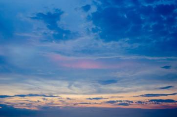 Nice twilight sky with sunset light on clouds