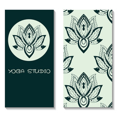 Cards template for yoga studio with lotuses. Yoga vertical vecto