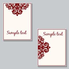 Set of floral cards. Postcard with a vintage pattern. Vintage in