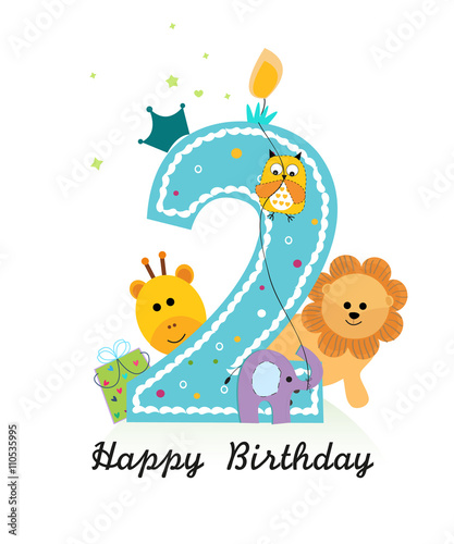 Happy Second Birthday With Animals Baby Boy Greeting Card Vector