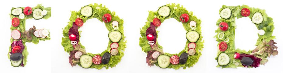 Word food made of salad