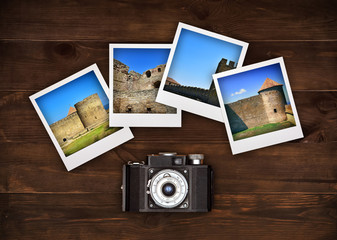 four photos with medieval castle