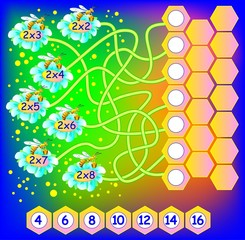 Exercise for children with multiplication by two. Need to write correct number in empty circles. Developing skills for counting and multiplication. Vector image.