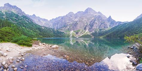 Fototapeta Panoramic view of Morskie Oko lake, Poland
