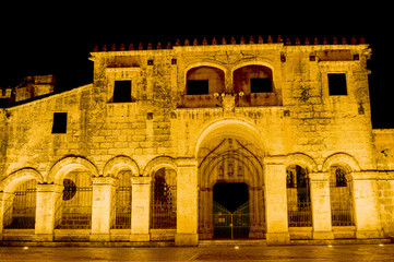 Night View of the Ancient Cathedral of Santa Maria la Menor in the Colonial Zone of Santo Domingo, Dominican Republic.