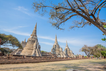 Temple- Ancient Pagoda wat phrasisanpetch Beautiful ancient temple in Ayutthaya Thailand.
