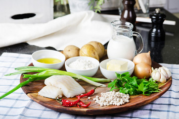 ingredients for cooking fresh cod fishcakes