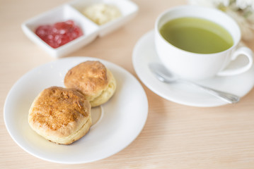 scones with green tea