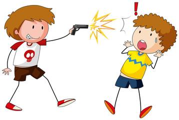 Boy shooting gun at other boy