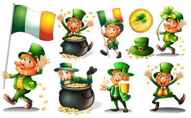 Leprechaun and gold in pot Wall mural