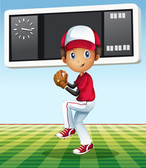 Boy playing baseball in the field