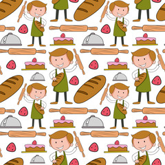 Seamless background with baker and bakery