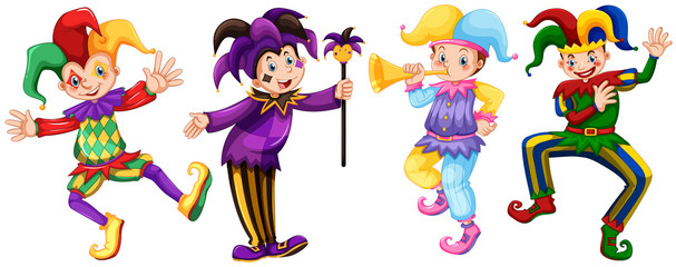 Four characters of jesters Wall mural