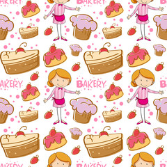 Seamless baker and cakes