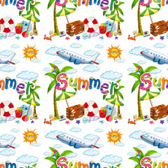 Seamless background  with summer vacation