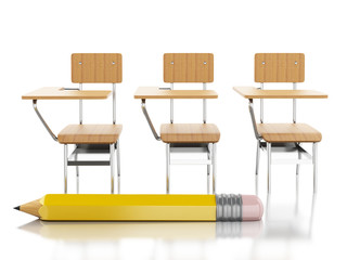 3d School chairs and pencil. Education concept.