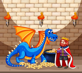 King and blue dragon with gold coins