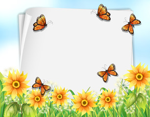 Paper design with butterflies and flowers