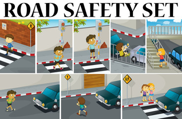 Different scenes with road safety