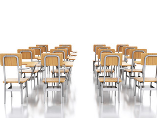 3d classroom with school chairs. Education concept.