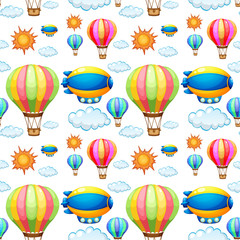 Seamless background with balloons in the sky