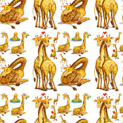 Seamless giraffe in different actions