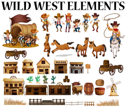 Wild west cowboys and buildings
