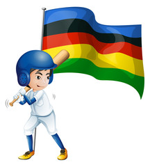 Olympic flag and baseball player