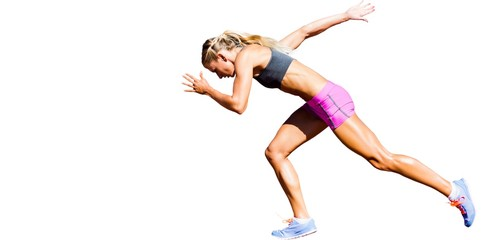 Sporty woman running on a white background