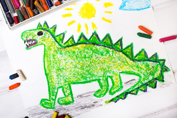 colorful  drawing: green dragon