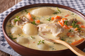 Belgian WATERZOOI soup with chicken close up in a bowl. horizontal