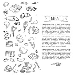 Hand drawn doodle set of cartoon different kind of meat and poultry Meat set Vector illustration Sketchy meat elements collection Lamb Pork Ham Mince Chicken Steak Bacon Sausage Salami Delicatessen