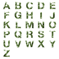 Collection of A-Z alphabet letter double exposure with dark gree