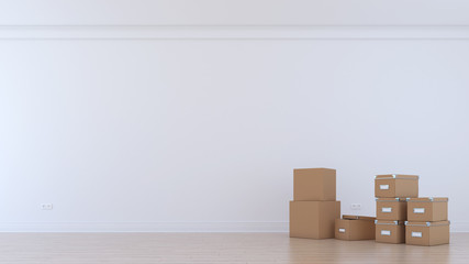 Empty room with card boxes