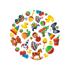 Toys icons for kids in circle shape