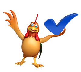 Wall Murals Birds, bees fun Chicken cartoon character with right sign