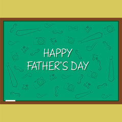 happy fathers day, on chalk board design vector