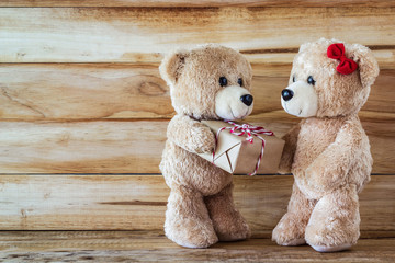 Teddy bear have a gift to girl friend