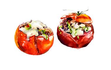 Stuffed tomatoes. Vegetarian menu. Watercolor hand drawn illustration