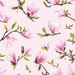 Seamless Floral Pattern. Magnolia Flowers and Leaves Background.